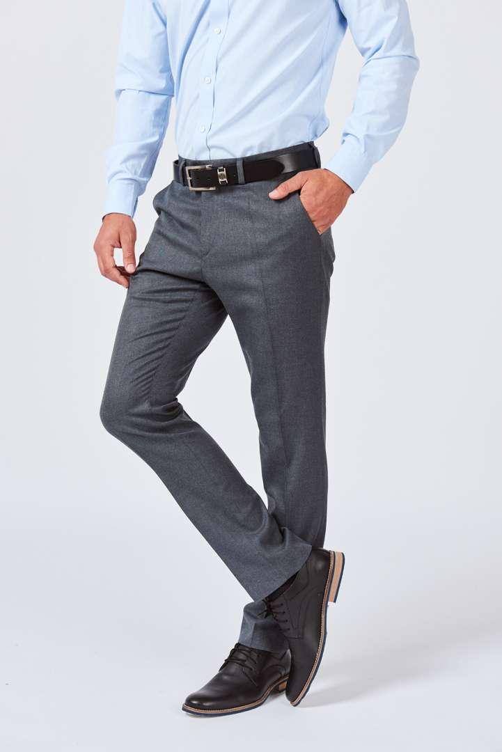 Pantalón de vestir sin pinzas de sarga clásica