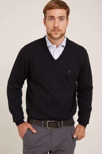 Sweater escote V liso con codera de gamuza de lana liviana