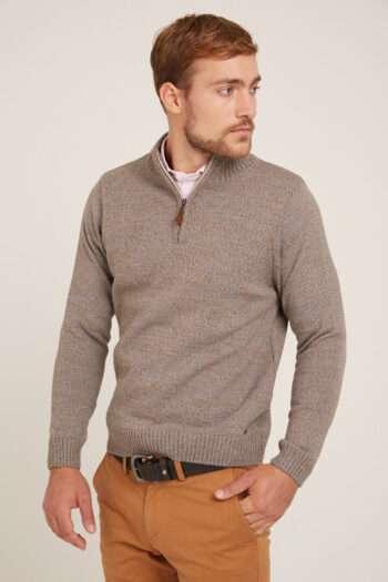 Sweater medio cierre tejido a tres cabos