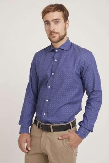 Camisa mangas largas slim fit jackard