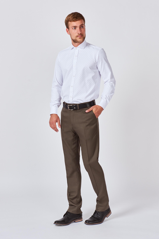 Camisa mangas largas slim fit con fantasía bordada de algodón