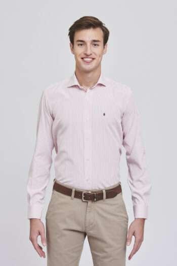 Camisa mangas largas slim fit rayada de algodón