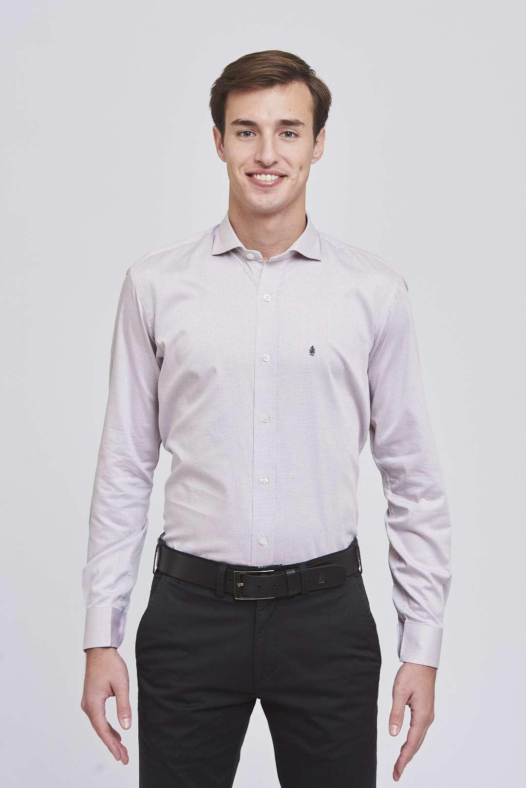 Camisa slim fit mangas largas fantasía de algodón