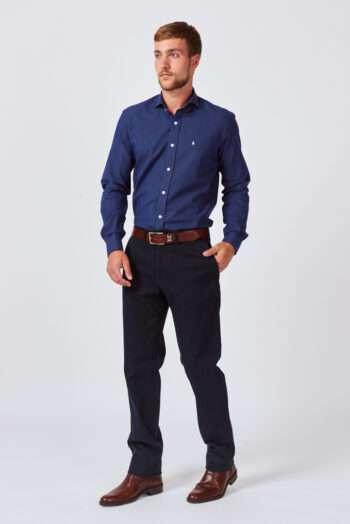 Camisa slim fit mangas largas fantasía jacquard de algodón
