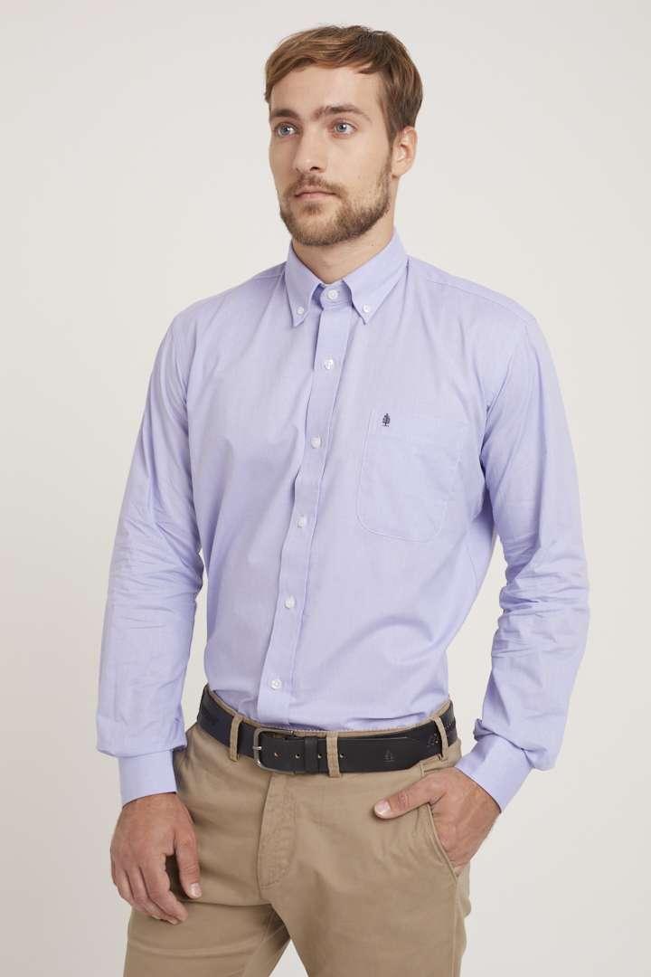 Camisa regular fit de algodón fil a fil
