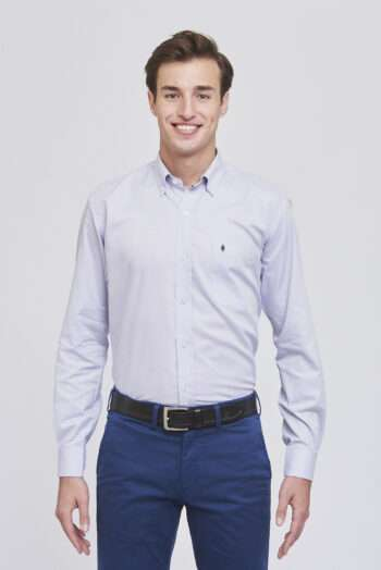 Camisa mangas largas regular fit de algodón point