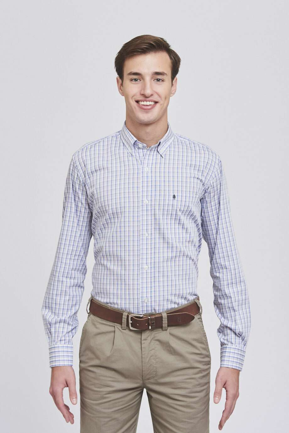 Camisa mangas largas regular fit a cuadros de algodón