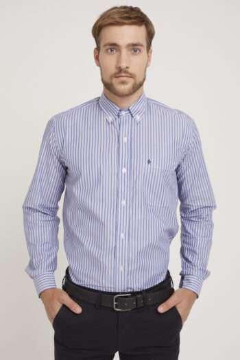 Camisa regular fit mangas largas a rayas de algodón