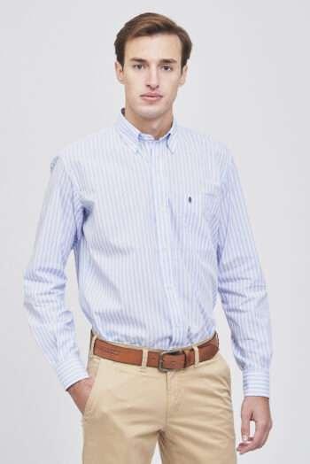 Camisa mangas largas regular fit a rayas de algodón
