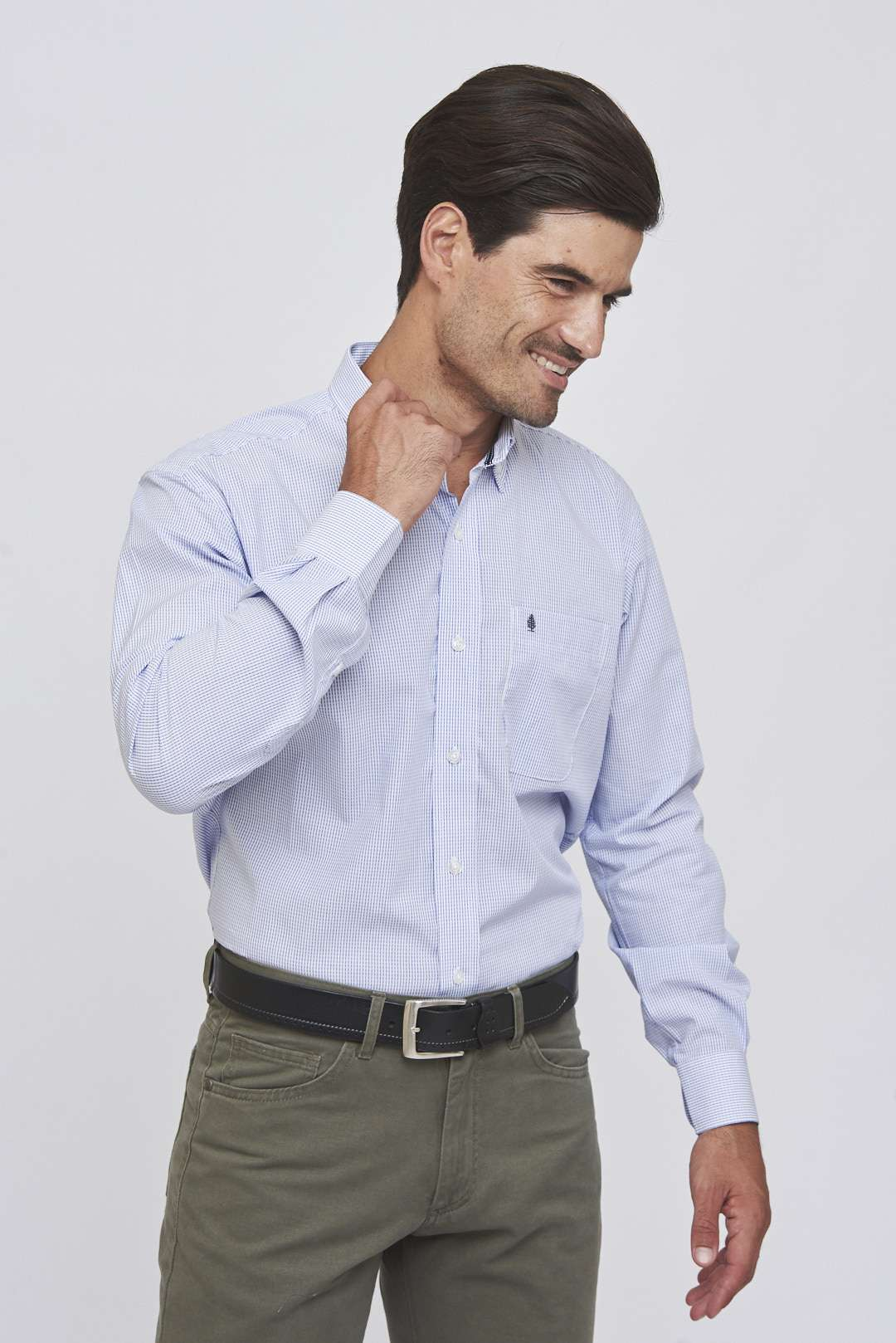 Camisa regular fit mangas largas con jacquard rayado de algodón