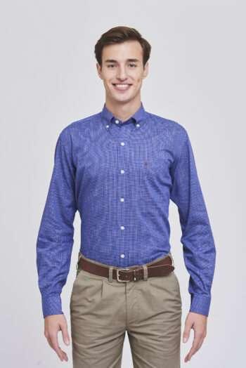 Camisa regular fit mangas largas a cuadros de algodón pima