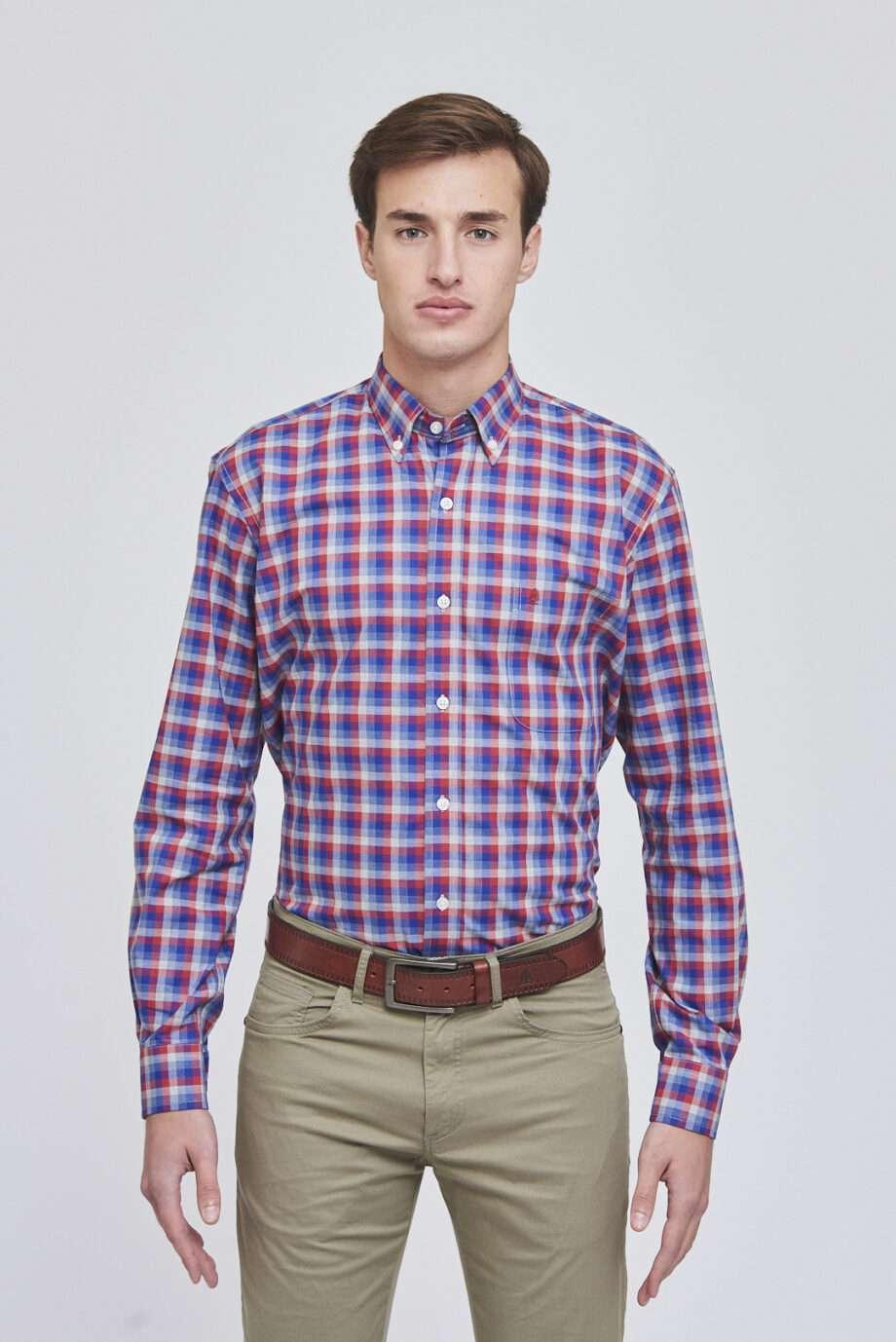 Camisa mangas largas regular fit a cuadros de algodón pima
