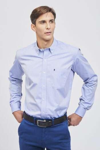 Camisa regular fit mangas largas fantasía de algodón pima