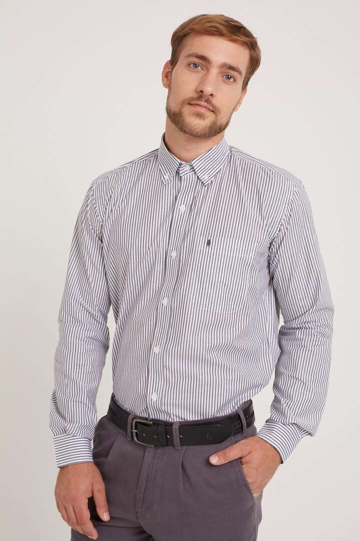 Camisa mangas largas regular fit a rayas de algodón pima