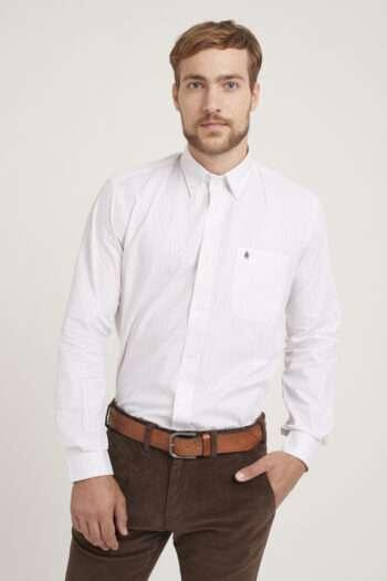 Camisa regular fit mangas largas a rayas flame de algodón