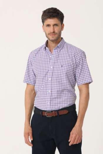 Camisa mangas cortas regular fit a cuadros de algodón y poliester